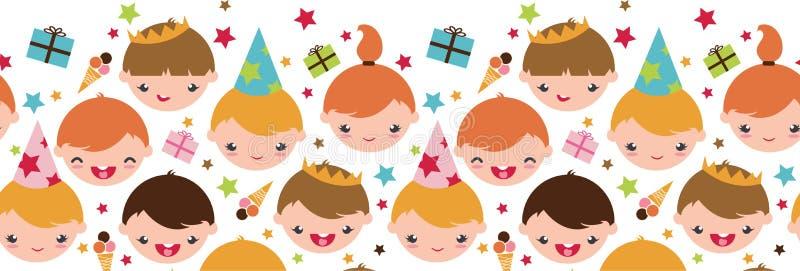 Jonge geitjes bij horizontale naadloos van de verjaardagspartij stock illustratie
