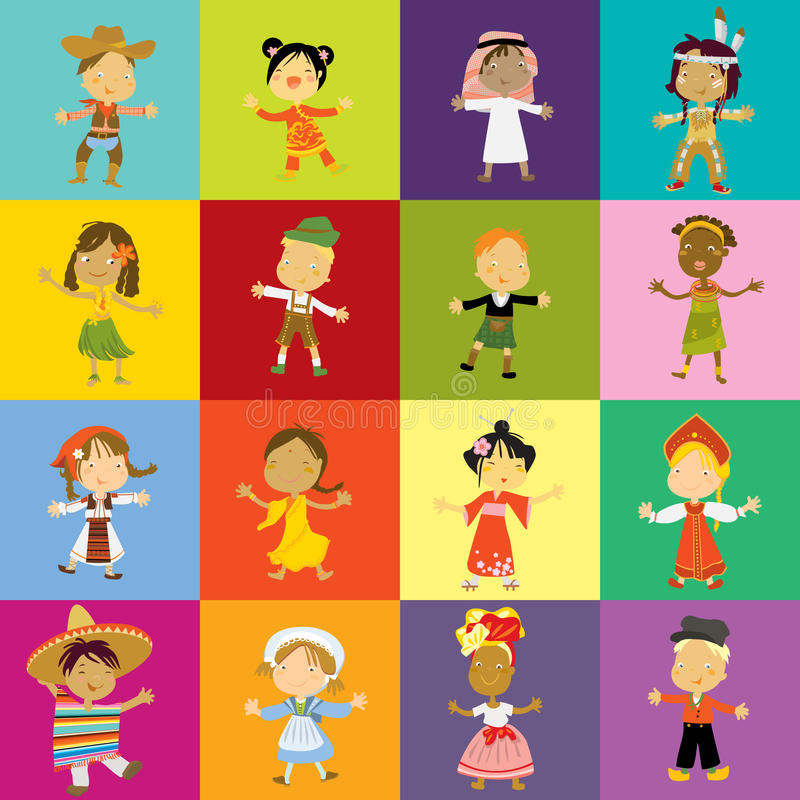 jonge geitjes culturele diversiteit royalty-vrije illustratie