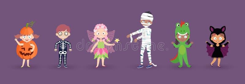 Jonge geitjes in de Kostuums van Halloween Grappige en leuke Carnaval-geplaatste jonge geitjes royalty-vrije illustratie