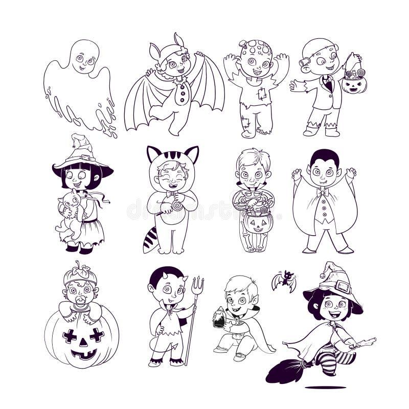 Jonge geitjes in de Kostuums van Halloween Het Kleurende Boek van Halloween Illustratie voor geïsoleerde karakters van het kinder vector illustratie