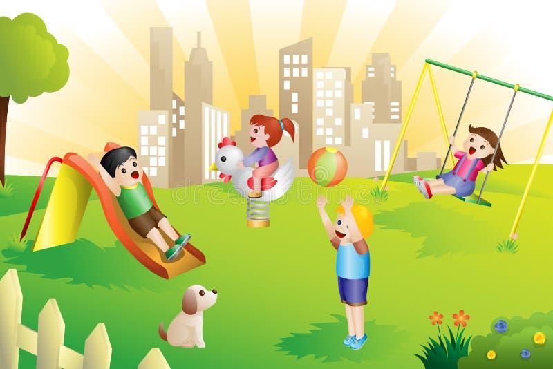 Jonge geitjes in de speelplaats royalty-vrije illustratie