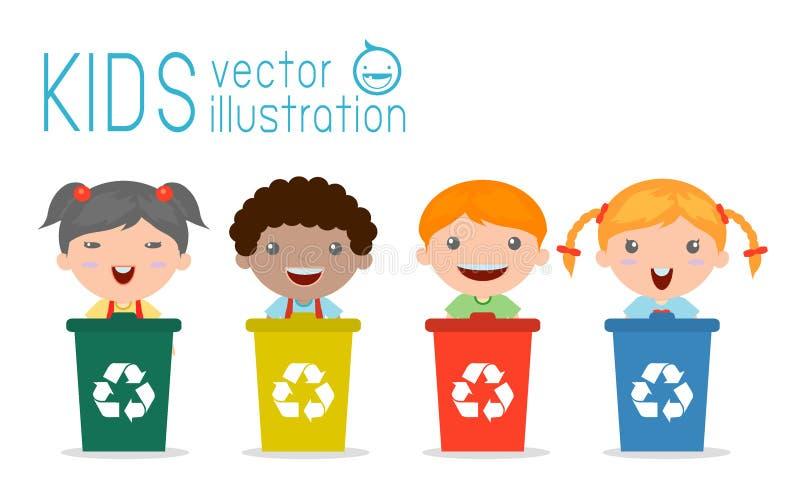 Jonge geitjes die Afval afzonderen, recyclerend afval, sparen de Wereld, Vectorillustratie royalty-vrije illustratie