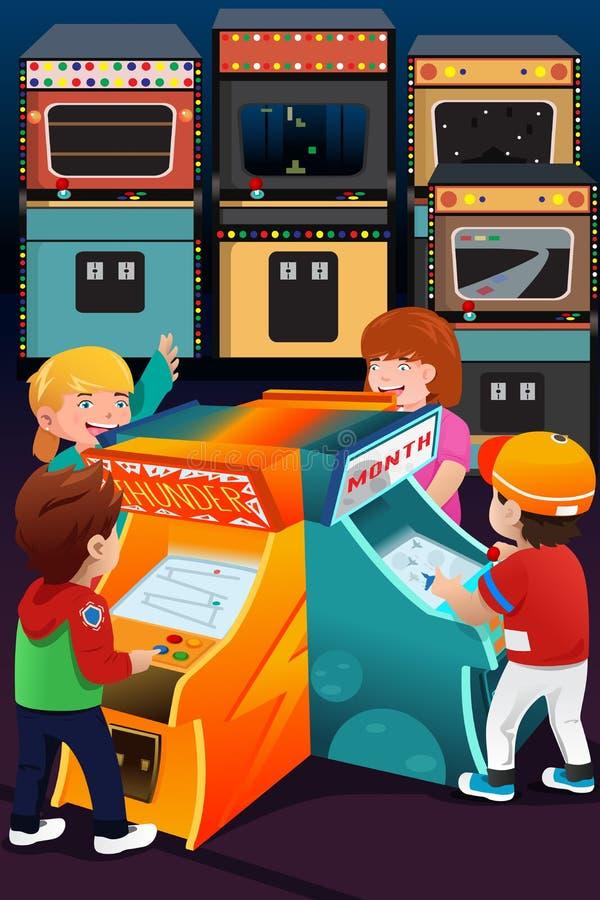 Jonge geitjes die arcadespelen spelen royalty-vrije illustratie