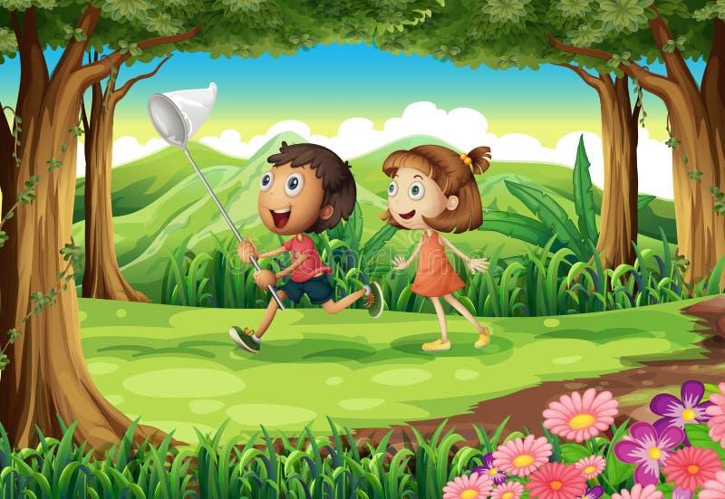 Download Jonge Geitjes Die Bij Het Hout Spelen Vector Illustratie - Illustratie bestaande uit groen, grond: 39117079