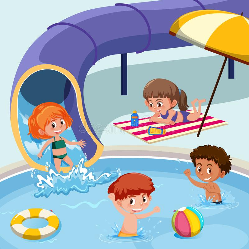 Jonge geitjes die bij zwembad spelen royalty-vrije illustratie
