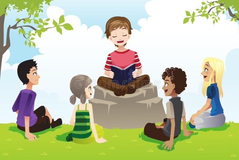 Jonge geitjes die bijbel bestuderen royalty-vrije illustratie