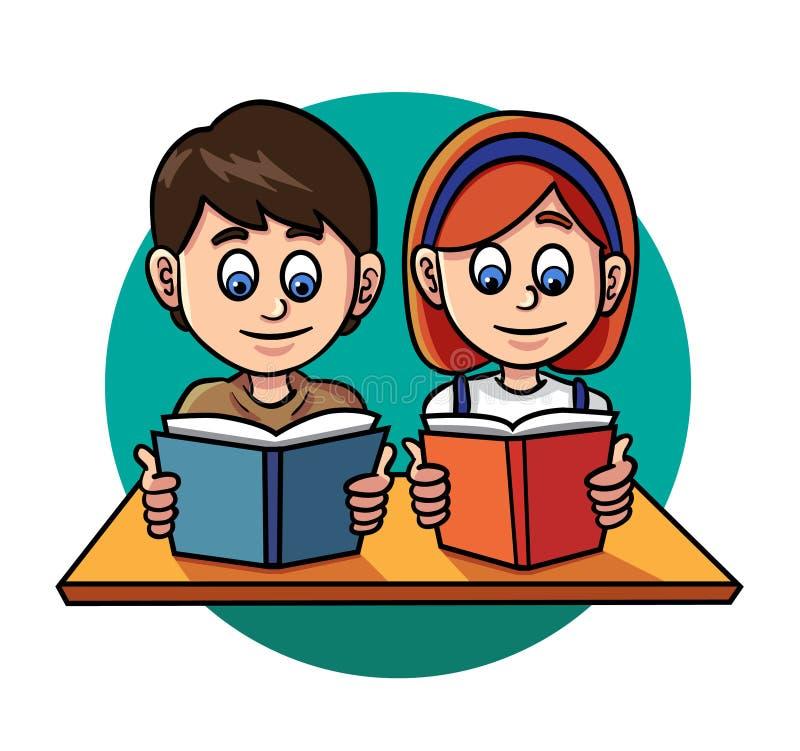 Jonge geitjes die boek lezen royalty-vrije illustratie
