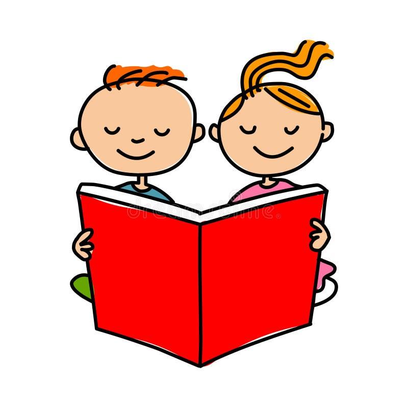 Jonge geitjes die boek lezen Beeldverhaaljonge geitjes die boekillustratie lezen royalty-vrije illustratie