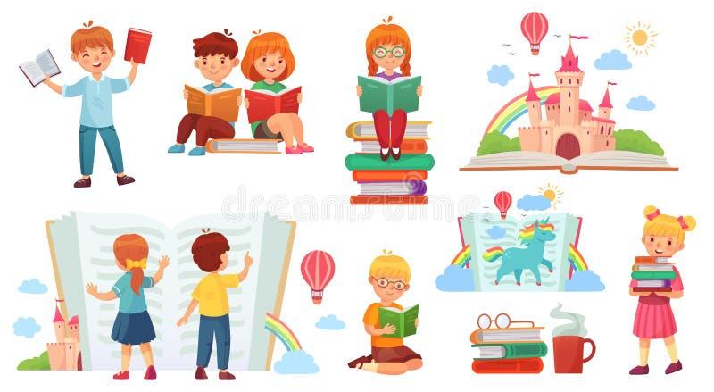 Jonge geitjes die boek lezen De bibliotheek van het beeldverhaalkind, gelukkig jong geitje las boeken en de boekstapel isoleerde  stock illustratie