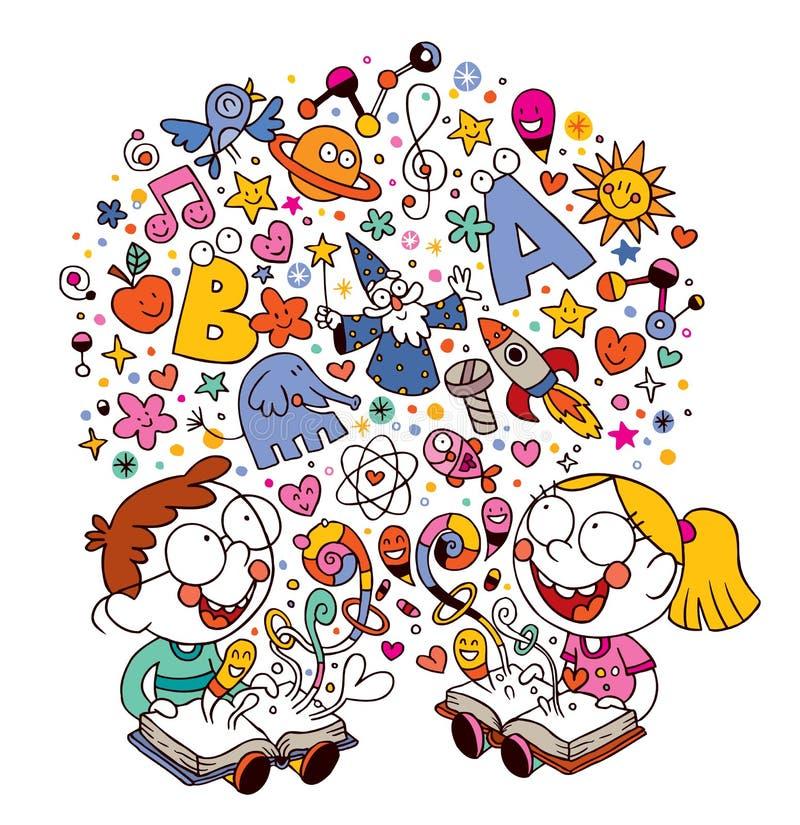 Jonge geitjes die boeken lezen stock illustratie