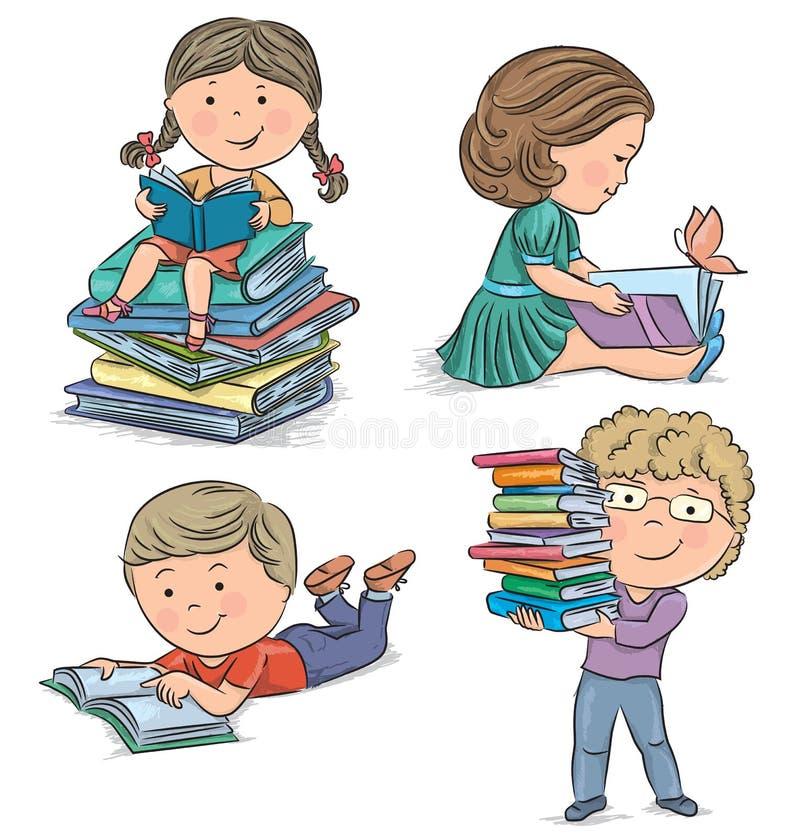 Jonge geitjes die boeken lezen royalty-vrije illustratie