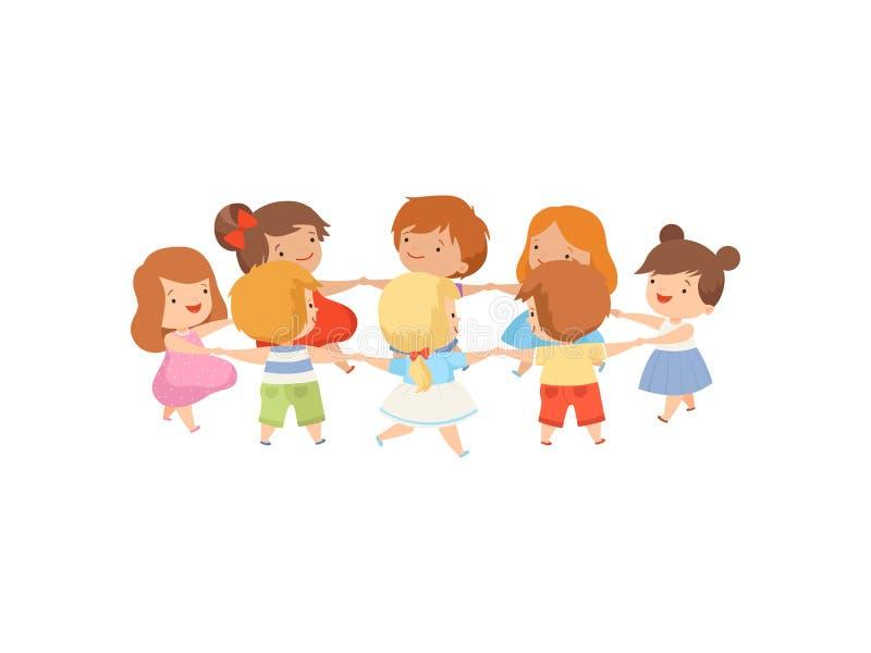 Jonge geitjes die in de Handen van de Cirkelholding, Leuke Gelukkige Jongens en Meisjes dansen die samen Beeldverhaal Vectorillus royalty-vrije illustratie