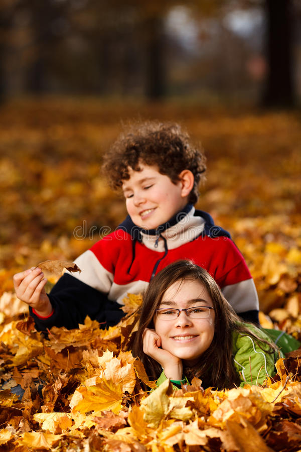 Jonge Geitjes Die In De Herfstpark Spelen Stock Afbeeldingen