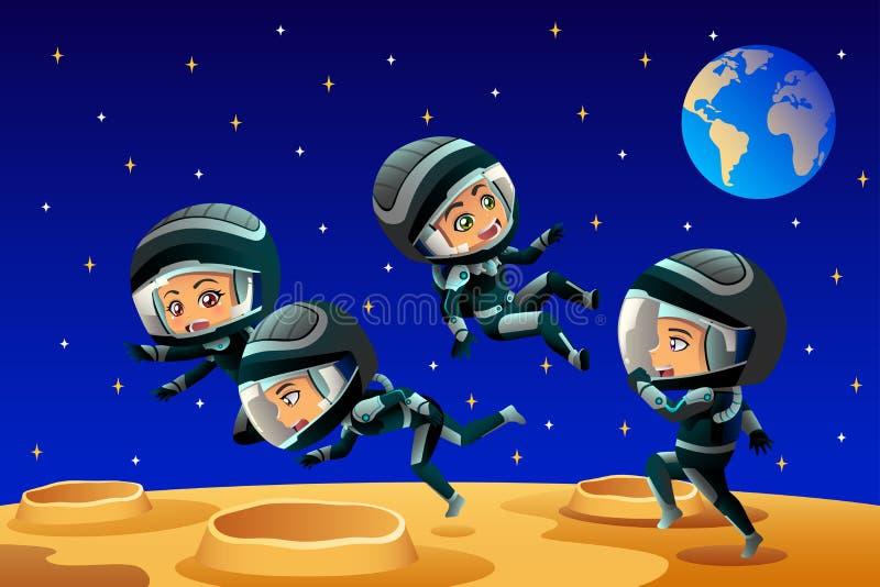Jonge geitjes die de Maan van Astronautenoutfit on the dragen vector illustratie