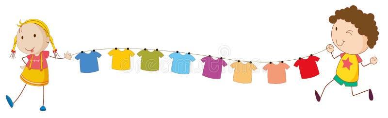Jonge geitjes die de uiteinden van de draad voor de hangende kleren houden stock illustratie