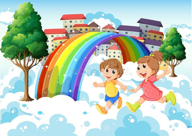 Jonge geitjes die dichtbij de regenboog spelen vector illustratie