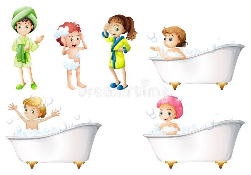 Jonge geitjes die een bad nemen stock illustratie