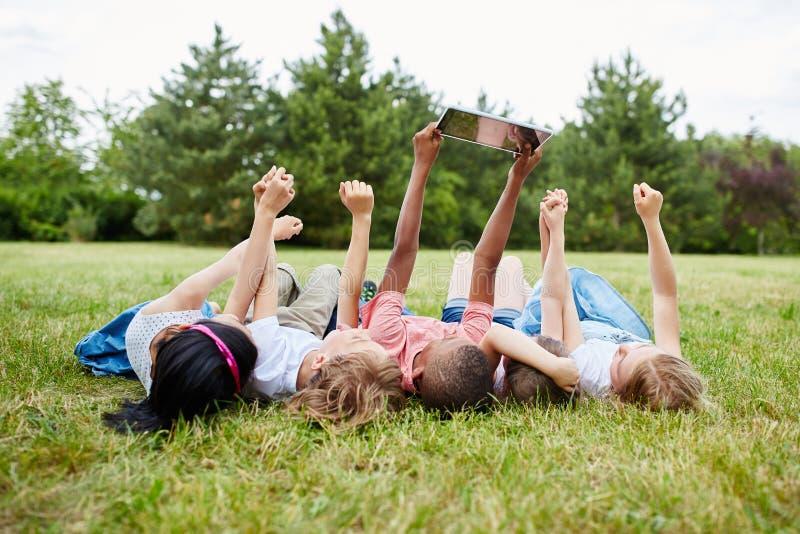 Jonge geitjes die een selfie op het gras nemen royalty-vrije stock afbeelding