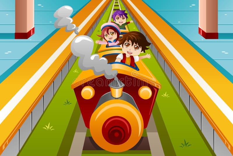Jonge geitjes die een trein berijden stock illustratie