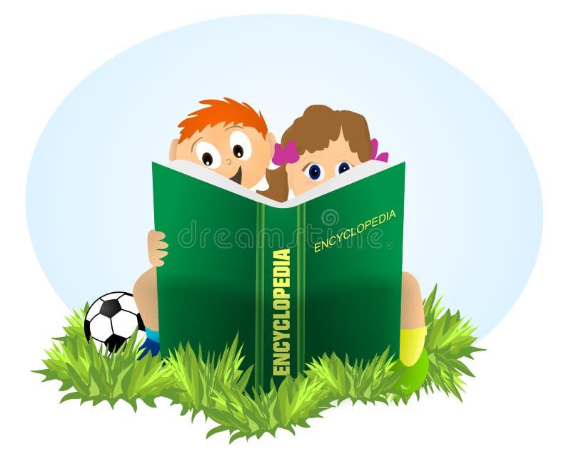 Jonge geitjes die Encyclopedie lezen royalty-vrije illustratie