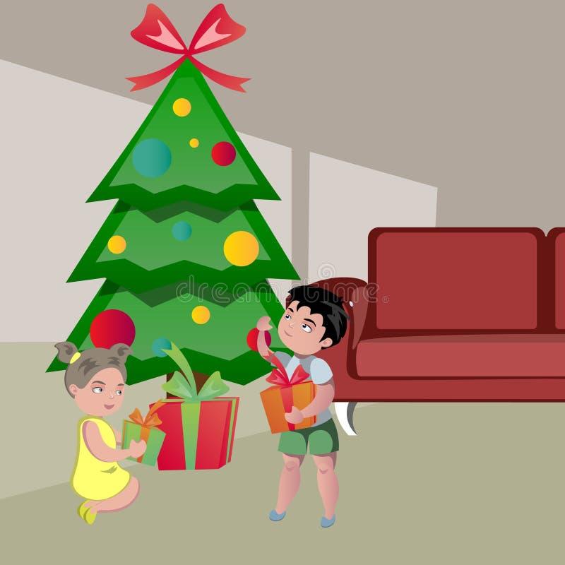 Jonge geitjes die Giften op Kerstmis openen stock illustratie