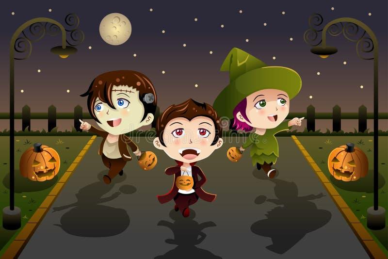 Jonge geitjes die Halloween-kostuums dragen vector illustratie