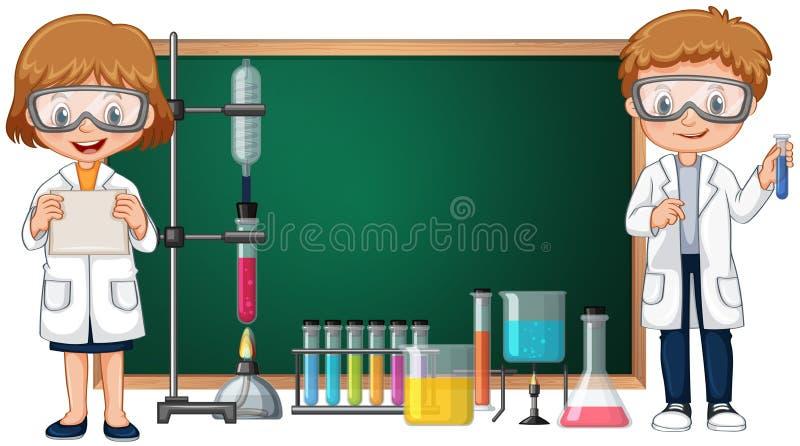 Jonge geitjes die het experiment van het wetenschapslaboratorium met bord op achtergrond doen vector illustratie
