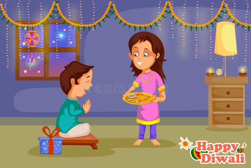 Jonge geitjes die het festival van Diwali en van Bhai Dooj van India vieren stock illustratie