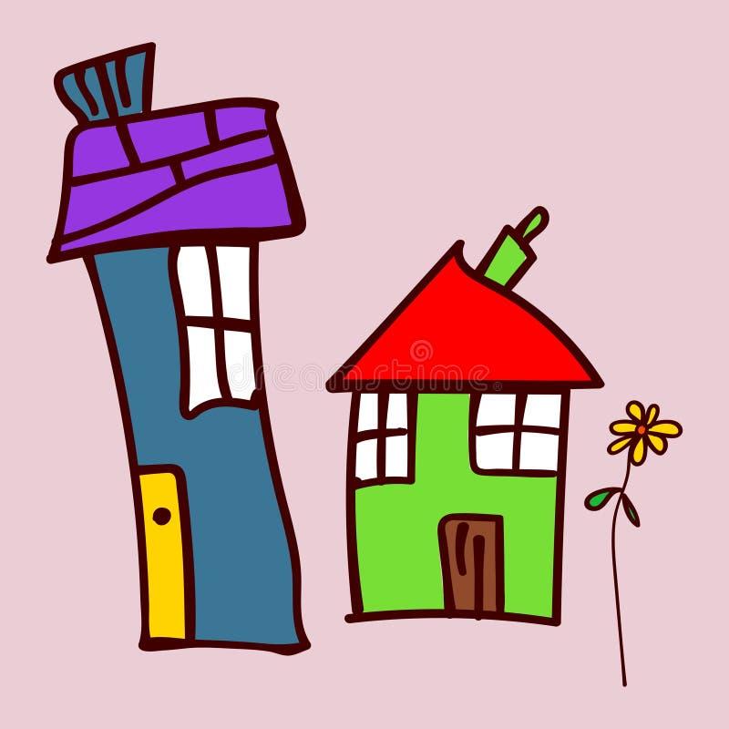 Jonge geitjes die huizen en installaties in krabbelstijl trekken royalty-vrije illustratie