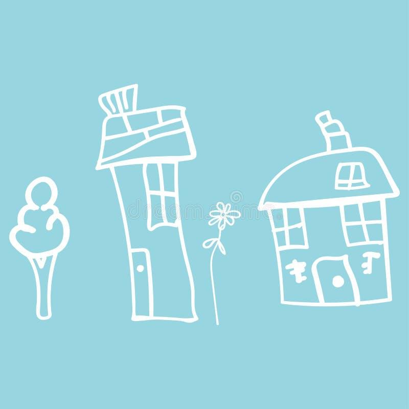 Jonge geitjes die huizen en installaties in krabbelstijl trekken vector illustratie