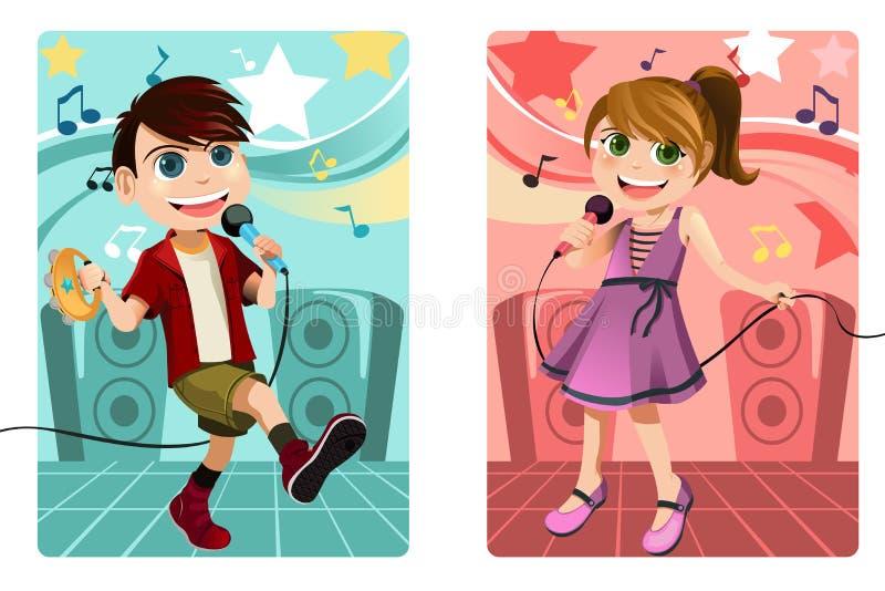 Jonge geitjes die karaoke zingen vector illustratie