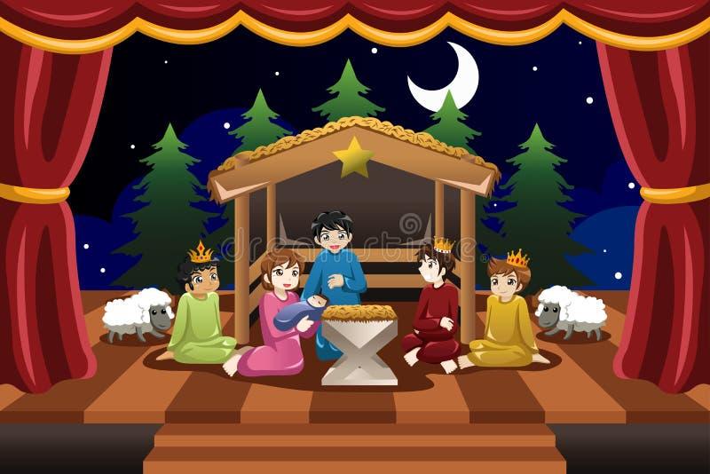 Jonge geitjes die in Kerstmisdrama spelen royalty-vrije illustratie