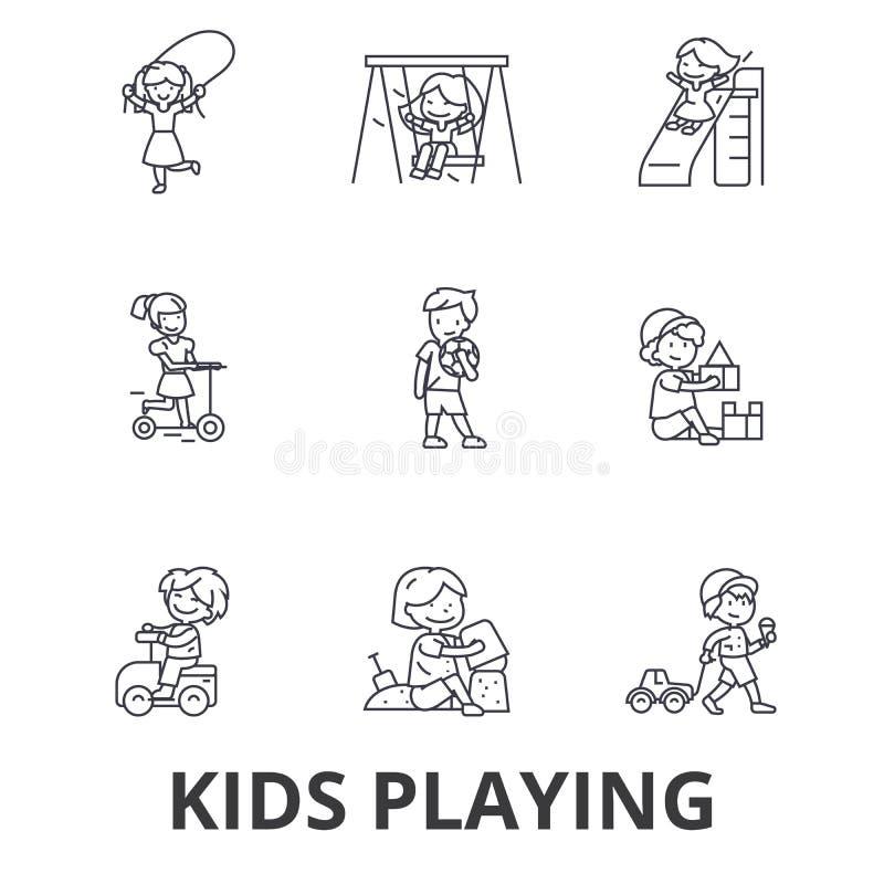 Jonge geitjes die, kinderen die, jonge geitjes die, springend, gelukkig, de pictogrammen van de speelplaatslijn buiten spelen spe stock illustratie