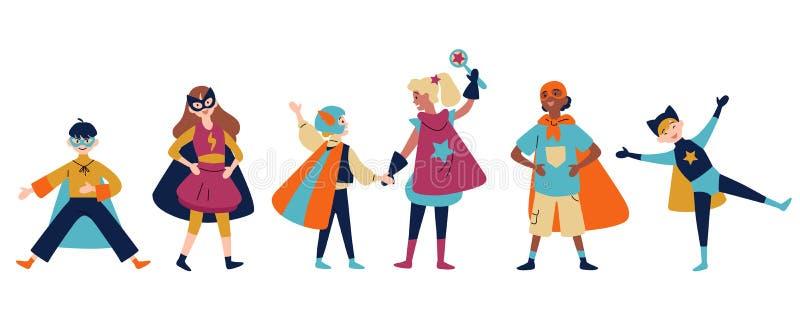 Jonge geitjes die kleurrijke kostuums van verschillende superheroes dragen vector illustratie