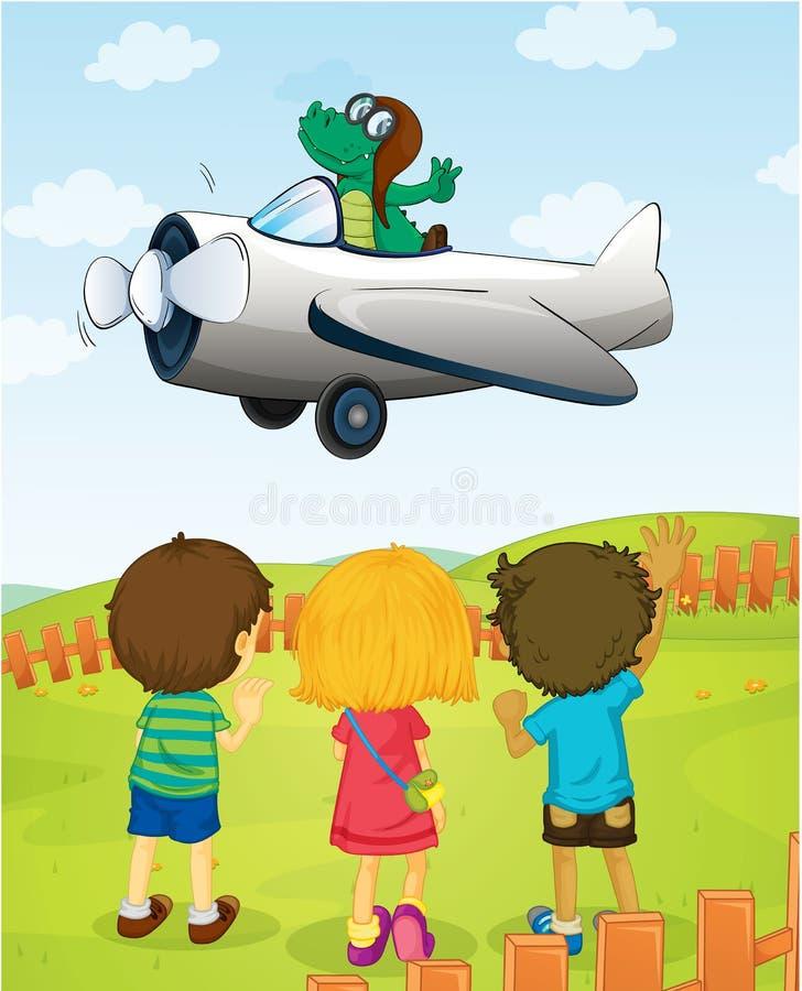 Jonge geitjes die krokodil op vliegend vliegtuig letten stock illustratie