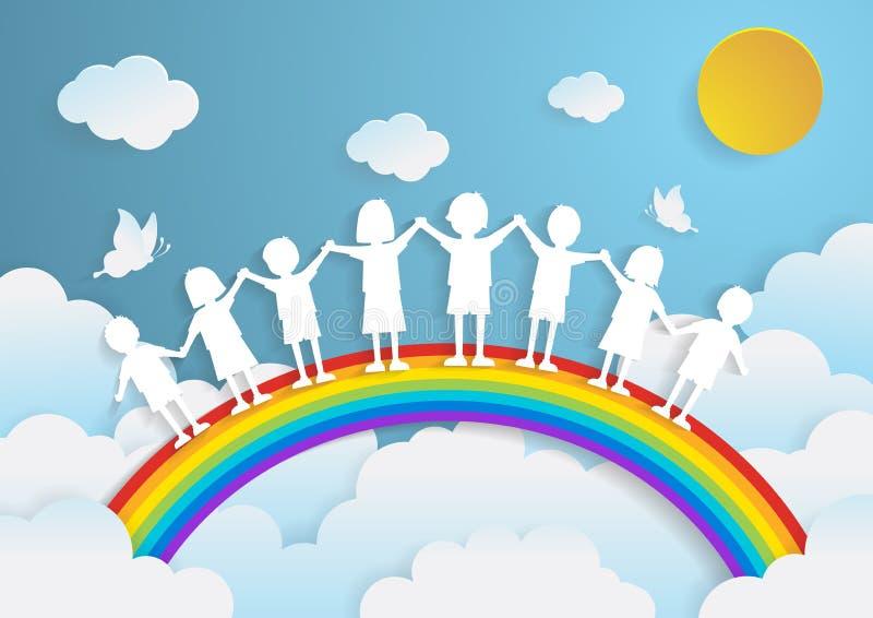 Jonge geitjes die met de regenboog, document kunststijl spelen royalty-vrije illustratie