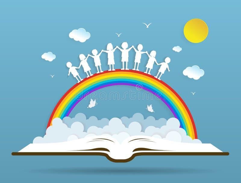 Jonge geitjes die met de regenboog op boek spelen stock illustratie