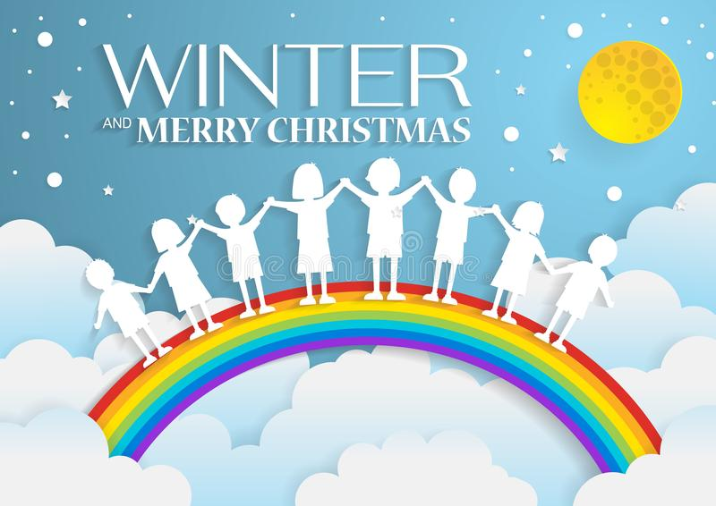 jonge geitjes die met de regenboog op hemel in wintertijd, document art. spelen royalty-vrije illustratie