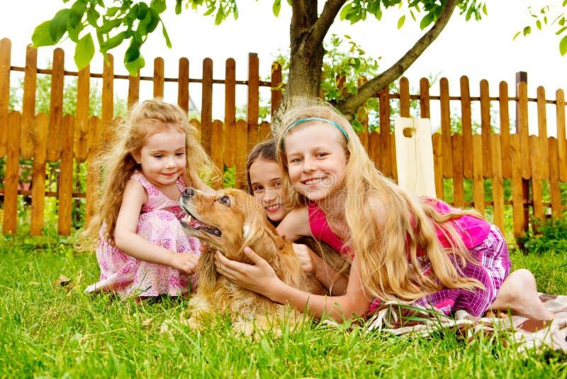 Jonge geitjes die met hond spelen stock fotografie
