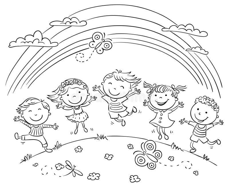 Jonge geitjes die met Joy On een Heuvel springen onder Regenboog stock illustratie