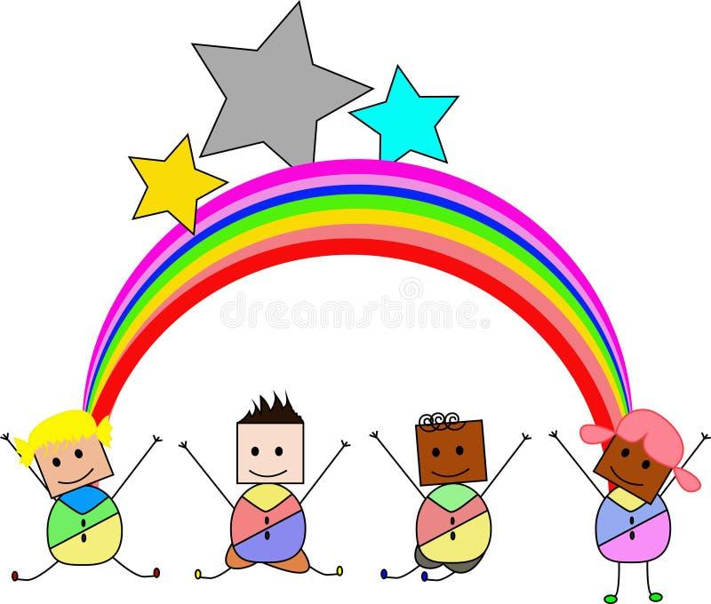 Jonge geitjes die met Joy On een Heuvel springen onder Regenboog royalty-vrije illustratie