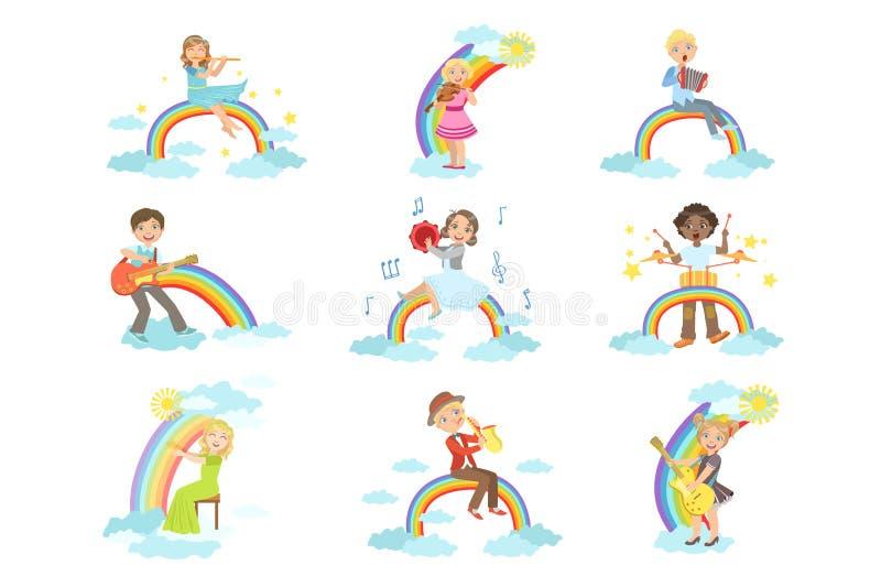 Jonge geitjes die Muziekinstrumenten met Regenboog en Wolkendecoratie spelen vector illustratie