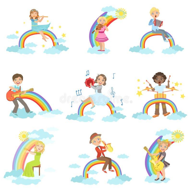 Jonge geitjes die Muziekinstrumenten met Regenboog en Wolkendecoratie spelen stock illustratie