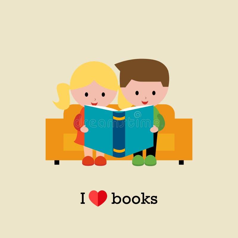 Jonge geitjes die op bank zitten en een boek lezen stock illustratie