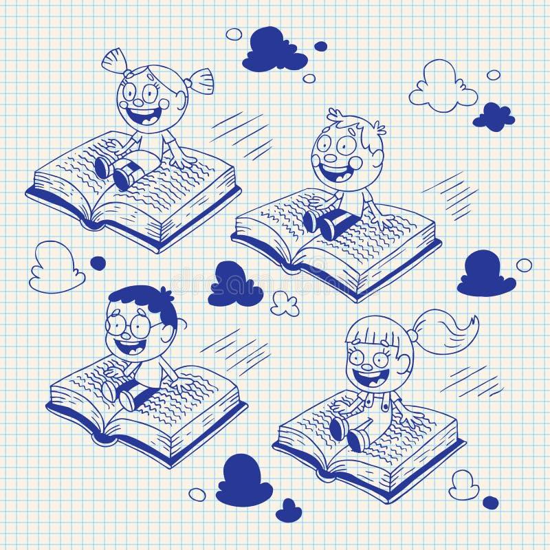 Jonge geitjes die op boeken vliegen vector illustratie