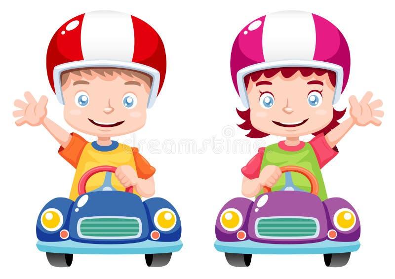 Jonge geitjes die op stuk speelgoed auto rennen vector illustratie