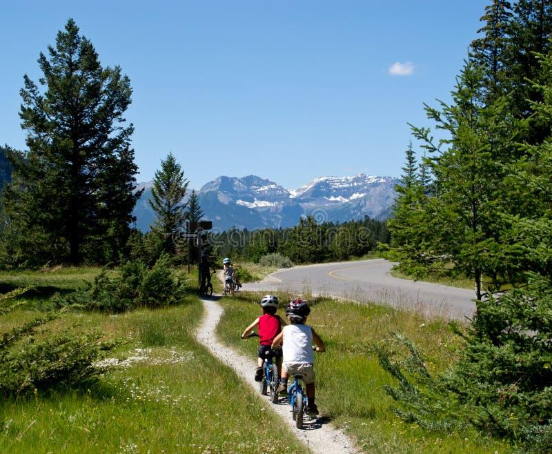 Jonge geitjes die in openlucht biking royalty-vrije stock foto's