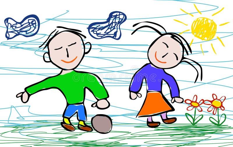 Jonge geitjes die stijl van jongen en meisje trekken stock illustratie