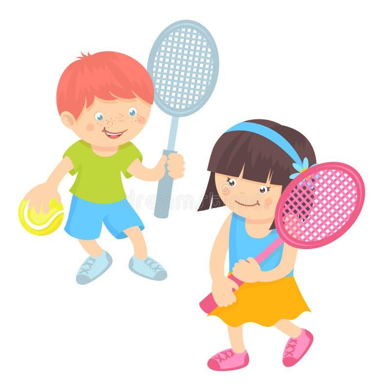 Jonge geitjes die Tennis spelen stock illustratie