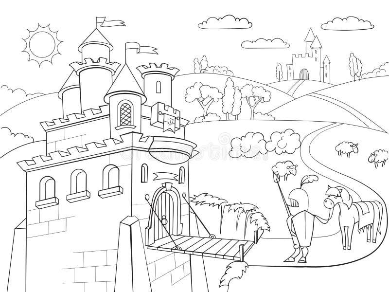 Jonge geitjes die vector van het beeldverhaal de ridderlijke kasteel kleuren royalty-vrije illustratie